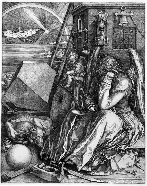 Albrecht Dürer's print, Melancolia, shows a female winged figure. She is the personification of depression.